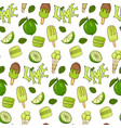 delicious ice cream and lime color seamless vector image