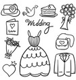 doodle of wedding style design vector image vector image