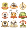 Flat Color Hunting Emblems vector image