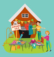 garage sale young beautiful women at the weekly vector image vector image