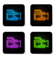 glowing neon video camera with inscription xxx vector image vector image