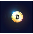 golden bitcoin cryptocurrency dard blue background vector image vector image