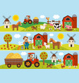 horizontal banners with farmer and pets vector image