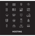 hosting editable line icons set on black vector image vector image