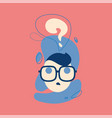 icon thinking man with question mark in think vector image vector image