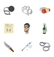 Illegal action icons set cartoon style vector image vector image