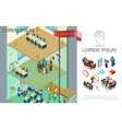 isometric colorful business composition vector image vector image