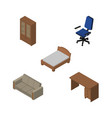 isometric furnishing set of cabinet bedstead vector image vector image