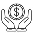 keep money hand icon outline style vector image vector image