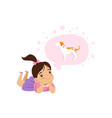 lovely girl dreaming of a dog kids imagination vector image