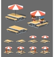 Low poly cafe table with sun umbrella vector image vector image