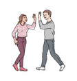 male and female colleagues giving high five vector image vector image