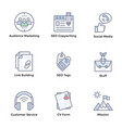 market and economy flat icons pack vector image vector image