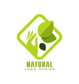 natural logo design organic food label emblem vector image vector image