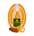 oktoberfest label with a beer bottle and food vector image