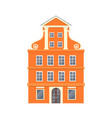 orange european style classic building facade vector image vector image