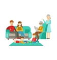 Parents And Grandparents Watching Kids Play Happy vector image vector image