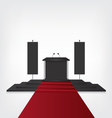 Podium with red carpet for award ceremony and flag vector image