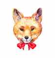 portrait of fox face or head with cute red bow vector image vector image