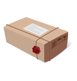 Postal mail box package with a wax seal and Icons vector image vector image