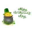 Pot of gold coins Full cauldron of gold Patrick vector image