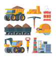 quarry mine equipment set smelted gold ingots vector image vector image