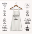 realistic white cotton kitchen apron with vector image