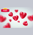 red realistic hearts isolated on light background vector image vector image