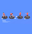 running and training people set vector image vector image