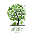 saint patrick day art tree invitation banner for vector image