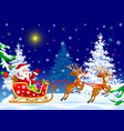 santa on sleigh with deer vector image