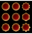 Set of Golden Blank Seal Wax Stamp vector image