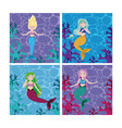 set of mermaids cartoon vector image vector image