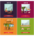 set pets posters in flat style vector image vector image