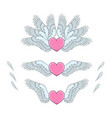 set pink hearts with white wings vector image vector image