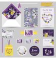 set wedding stationary - invitation card vector image vector image