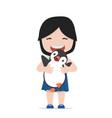 small girl hugs penguin vector image