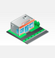 street laundry shop banner isometric style vector image vector image