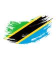 tanzanian flag grunge brush background vector image vector image