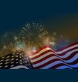 united states flag fireworks background for usa vector image