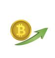 bitcoin symbol with green arrow vector image