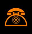 retro telephone sign orange icon on black vector image