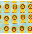 Seamless pattern with funny cute lion animal on a vector image