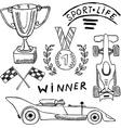 Sport auto items doodles elements Hand drawn set vector image