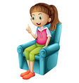 A smiling young girl sitting vector image vector image