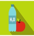 bottle water and red apple icon flat style vector image