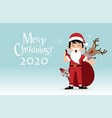 boy kid dressed like santa claus carrying sack vector image vector image