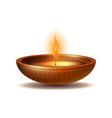 burning diya on happy diwali holiday isolated vector image vector image