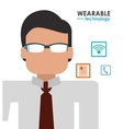 business man smart glasses work icons vector image