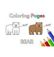 cartoon bear coloring book vector image